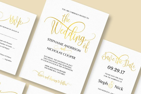 gold elegant wedding invitation invitations - Fancy Wedding Invitations