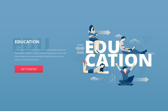education hero banner web elements creative market