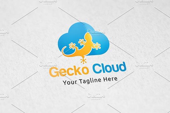 Gecko cloud logo template logo templates creative market fandeluxe Image collections