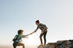Female friends hiking