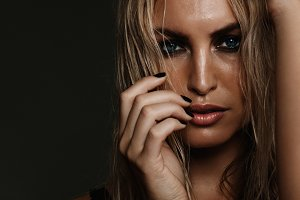 Fashion model with smokey makeup