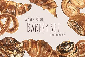 Watercolour bakery set