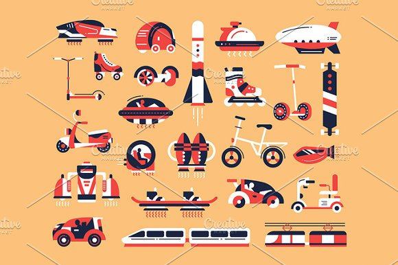 Transport Flat Design Icons Set