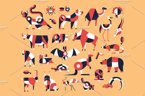 Animals Flat Design Icons Set