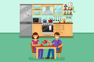 Couple Drinks Tea on the Kitchen