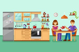 Kitchen Interior with Couple Vector