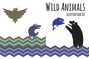 Wild Animals Illustration Set