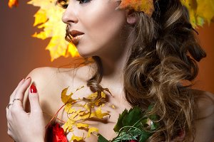Woman in the image of autumn
