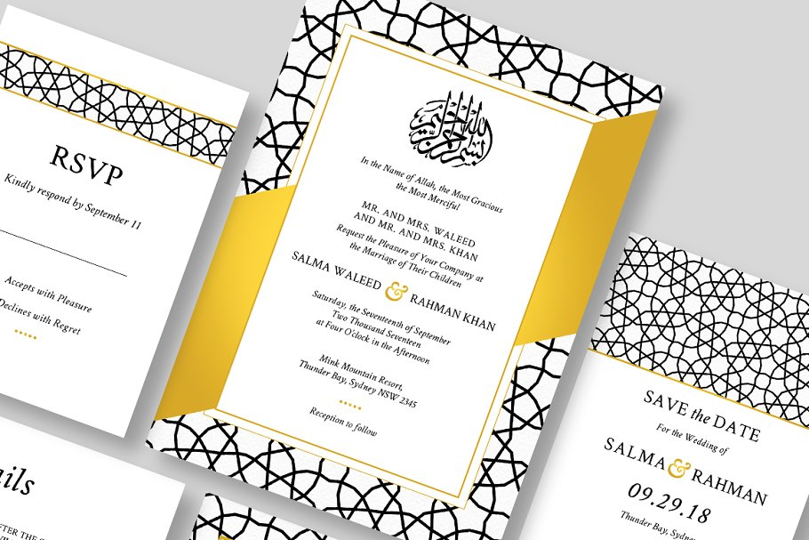 Islamic wedding invitation ~ Wedding Templates ~ Creative Market