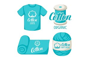Cotton label on t-shirt, fabric, thread, yarn. Emblems for clothing and production