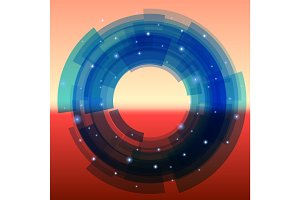 Retro-futuristic background with blue segmented circle