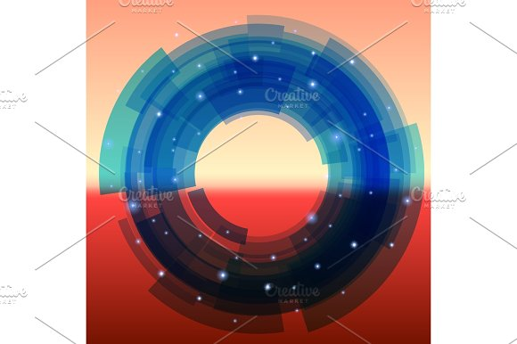 Retro-futuristic background with blue segmented circle