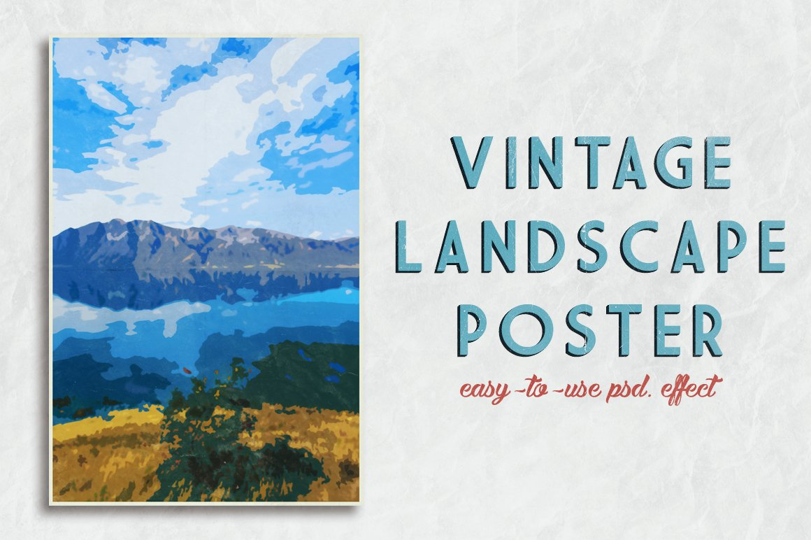 Vintage Landscape Poster Template ~ Photoshop Add-Ons ...