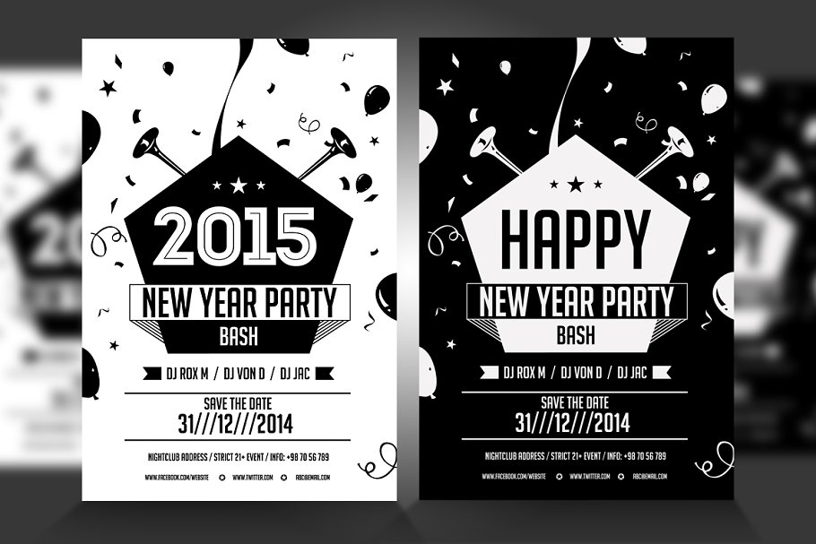 New Year Party Flyer in Flyer Templates - product preview 8