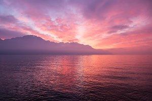 Sunset in Montreux, Switzerland