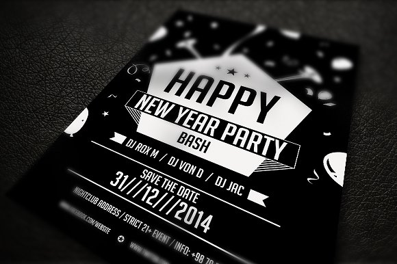 New Year Party Flyer in Flyer Templates - product preview 1