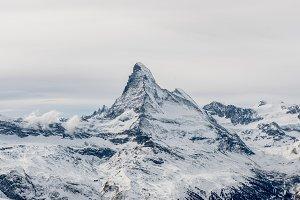 Moody view on snowy Matterhorn