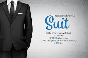 Realistic Male Suit Set