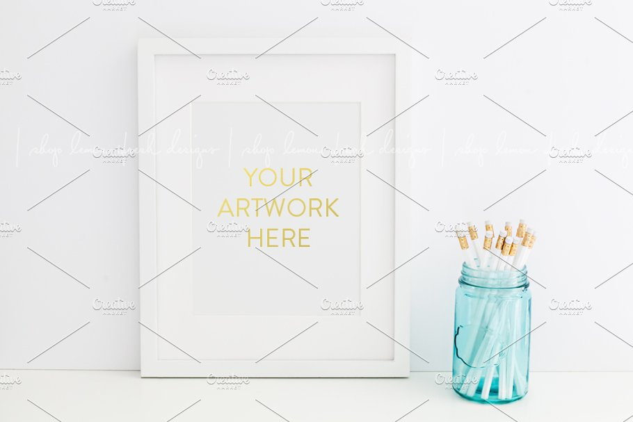 White Frame Styled Stock Photography in Product Mockups - product preview 8