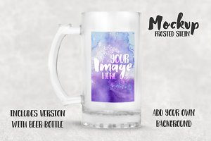 Frosted glass stein mockup