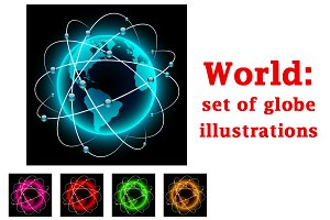 Abstract world illustrations set