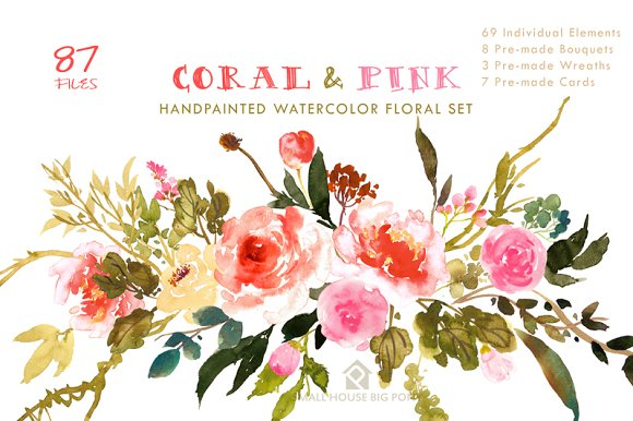 Coral pink flower collection illustrations creative market coral pink flower collection illustrations mightylinksfo