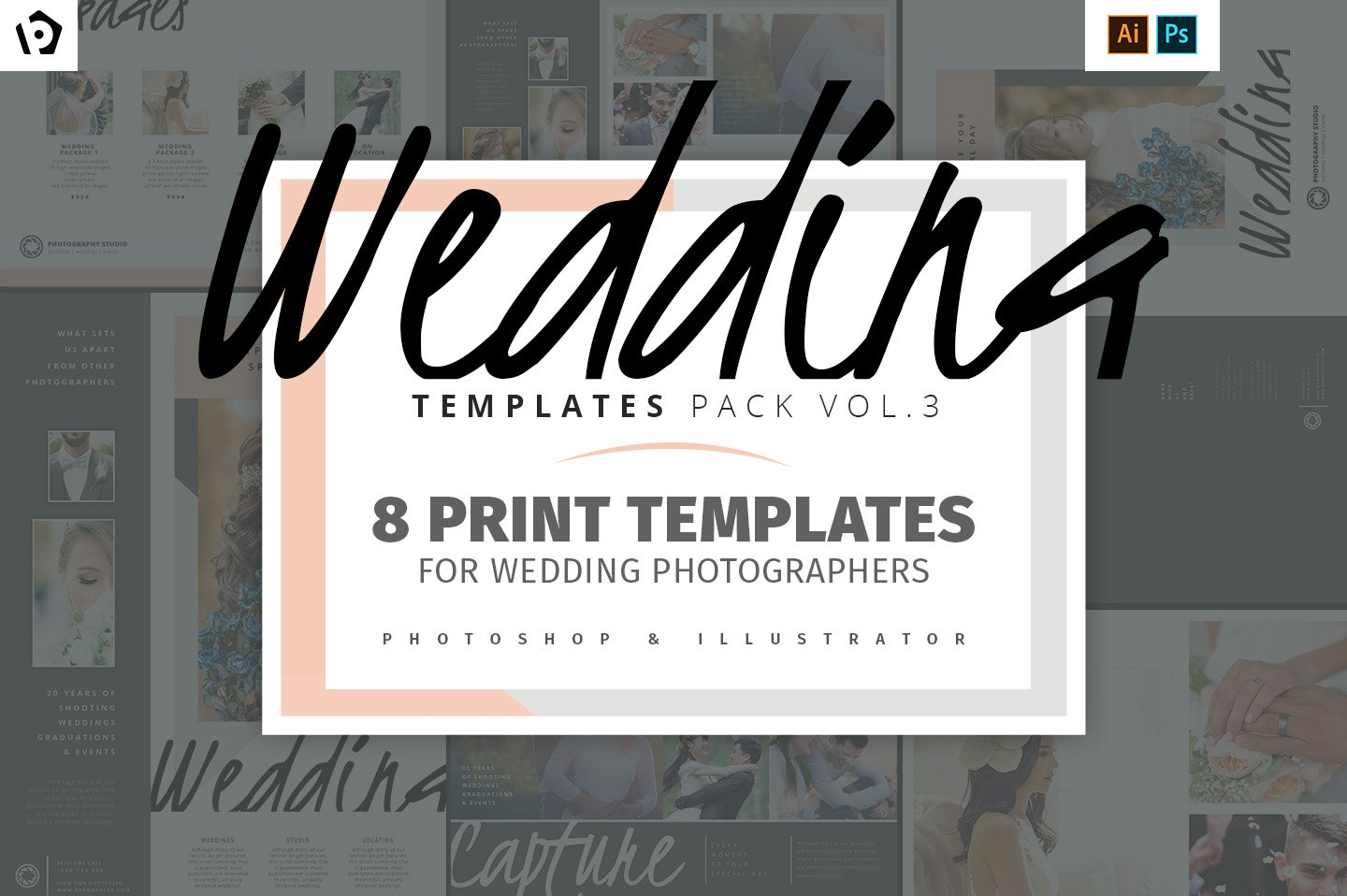 Wedding Photography Templates Pack 3 ~ Brochure Templates ~ Creative ...