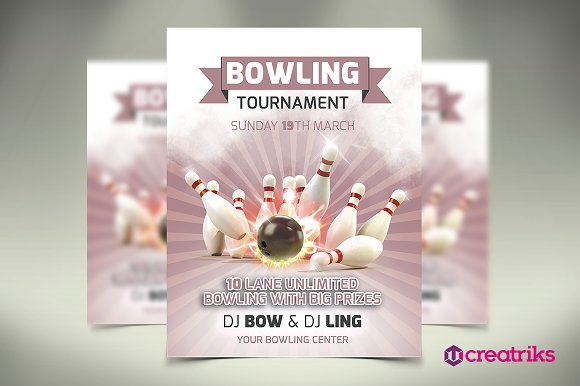 Bowling Flyer Flyer Templates on Creative Market – Bowling Flyer Template