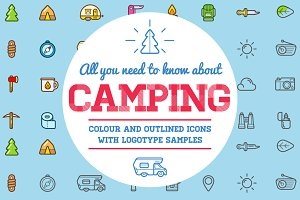 Awesome Camping Icons and Logo Set