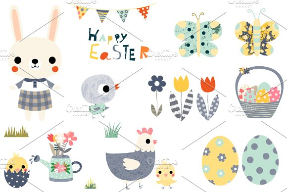 Easter Clip Art Set With Animals