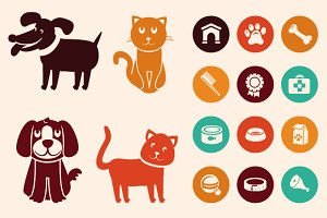 Cats and dogs - icons and patterns