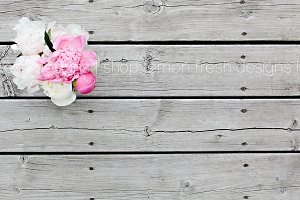 Peony Arrangement on Wood Image