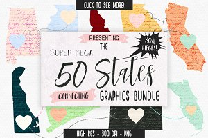 50 States Connecting Graphics Bundle