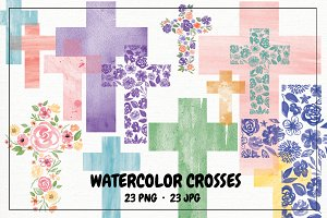 Watercolor Floral and Solid Crosses