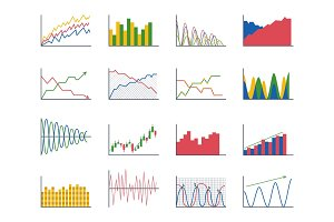 Business data graph analytics elements bar pie charts diagrams and flat icon infographics design isolated presentation report information vector illustration.
