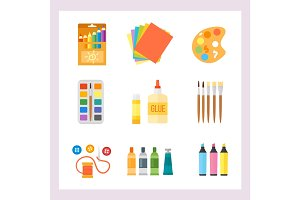 Themed kids creativity creation symbols poster in flat style with artistic objects for children art school fest unusual toys network movie vector illustration.