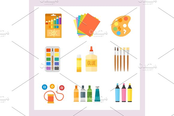 Themed Kids Creativity Creation Symbols Poster In Flat Style With Artistic Objects For Children Art School Fest Unusual Toys Network Movie Vector Illustration
