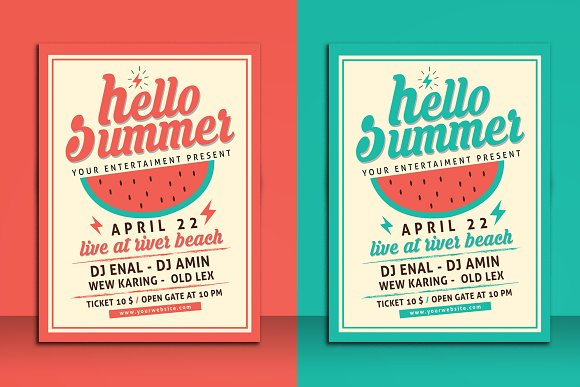 Hello Summer Party Flyer Template