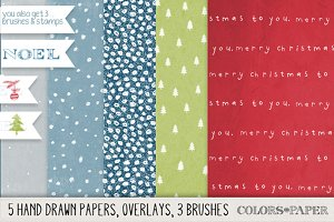 Hand Drawn Christmas Papers/Overlays