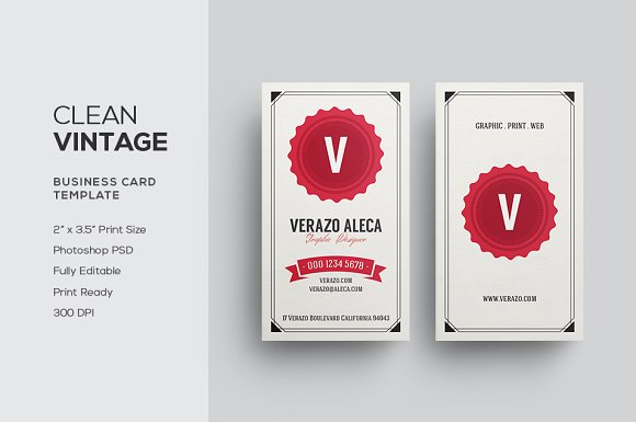 Clean vintage business card business card templates creative market reheart Gallery
