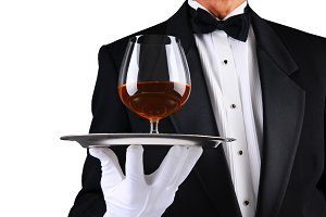 Waiter with Brandy Snifter on Tray