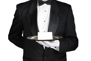 Butler With Note on Tray