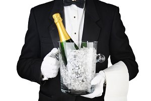 Waiter with Champagne Ice Bucket