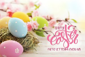 Easter letttering overlay collection