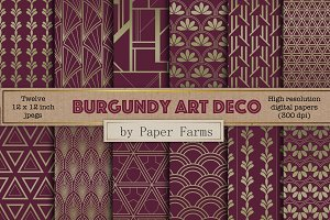 Burgundy Art Deco digital paper