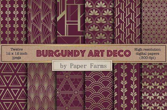 Burgundy Art Deco Digital Paper