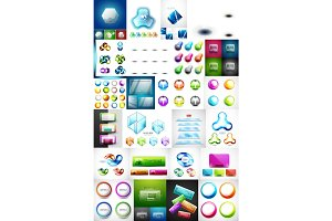 Mega collection of glass web banner plates, boxes buttons and sphere icons