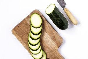 Fresh zucchini on a white background