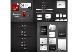 Mega collection of vector blank paper web boxes and dividers
