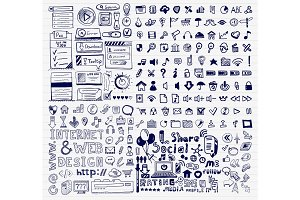 Mega collection of hand drawn universal internet concepts